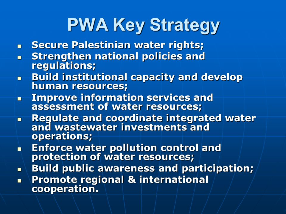 PWA Key Strategy Secure Palestinian water rights;