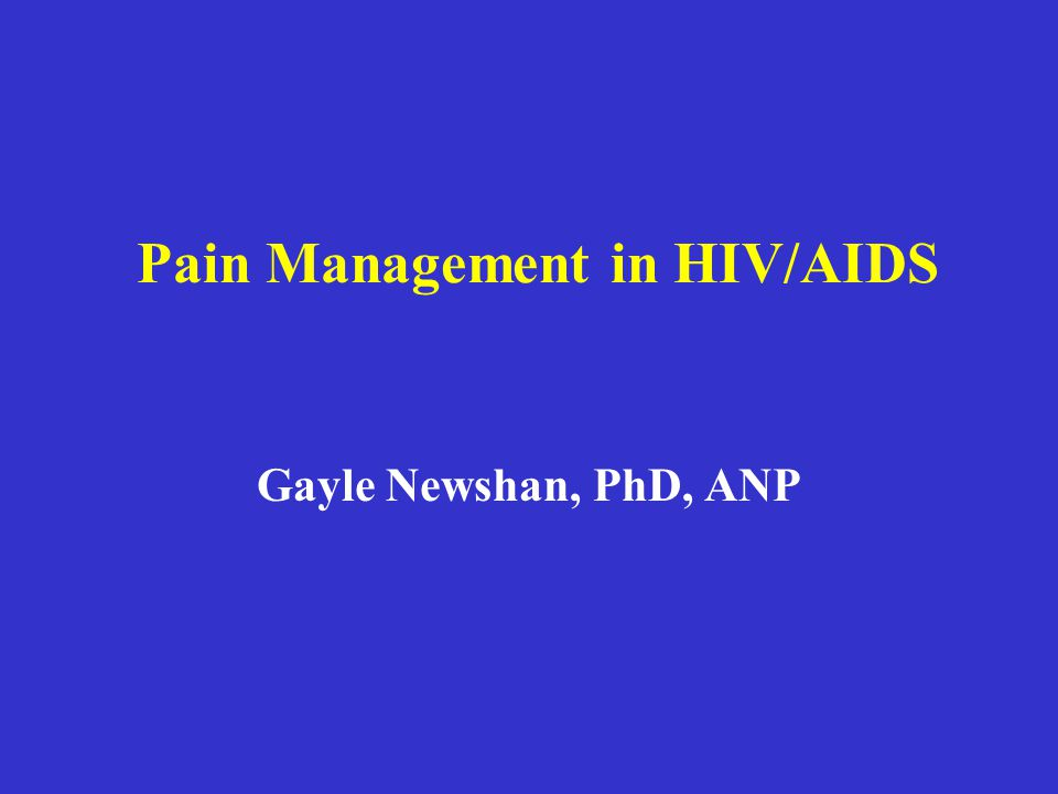 Pain Management in HIV/AIDS