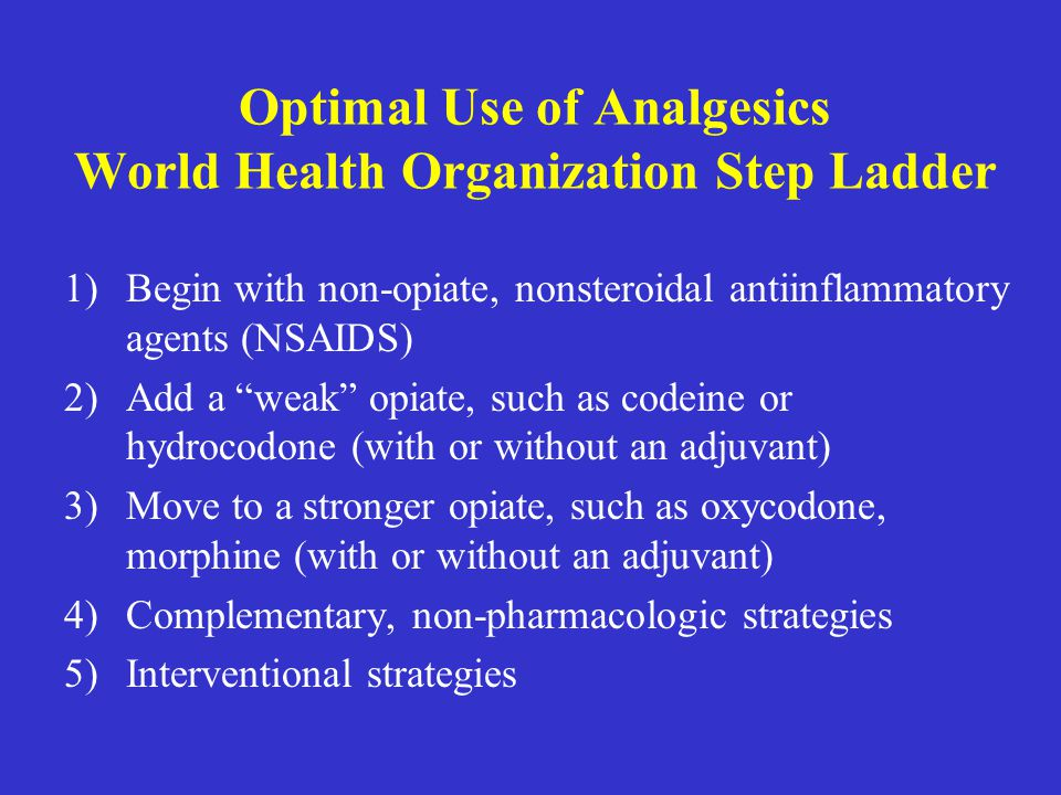 Optimal Use of Analgesics World Health Organization Step Ladder
