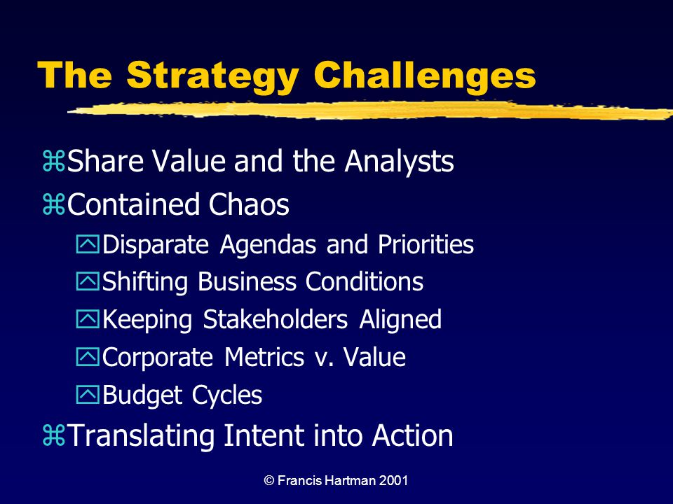The Strategy Challenges