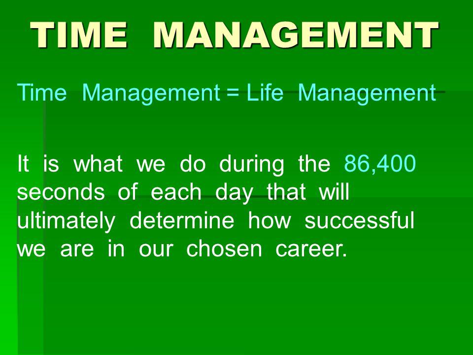 TIME MANAGEMENT Time Management = Life Management