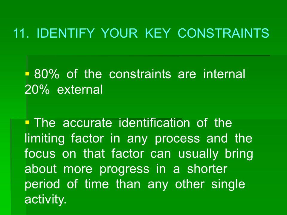 11. IDENTIFY YOUR KEY CONSTRAINTS