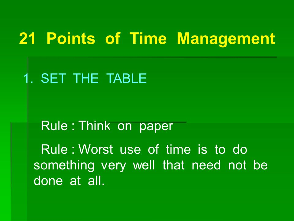 21 Points of Time Management