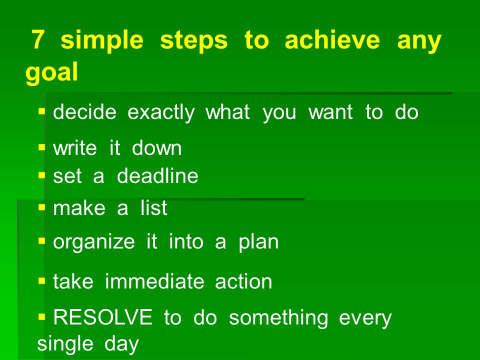 7 simple steps to achieve any goal