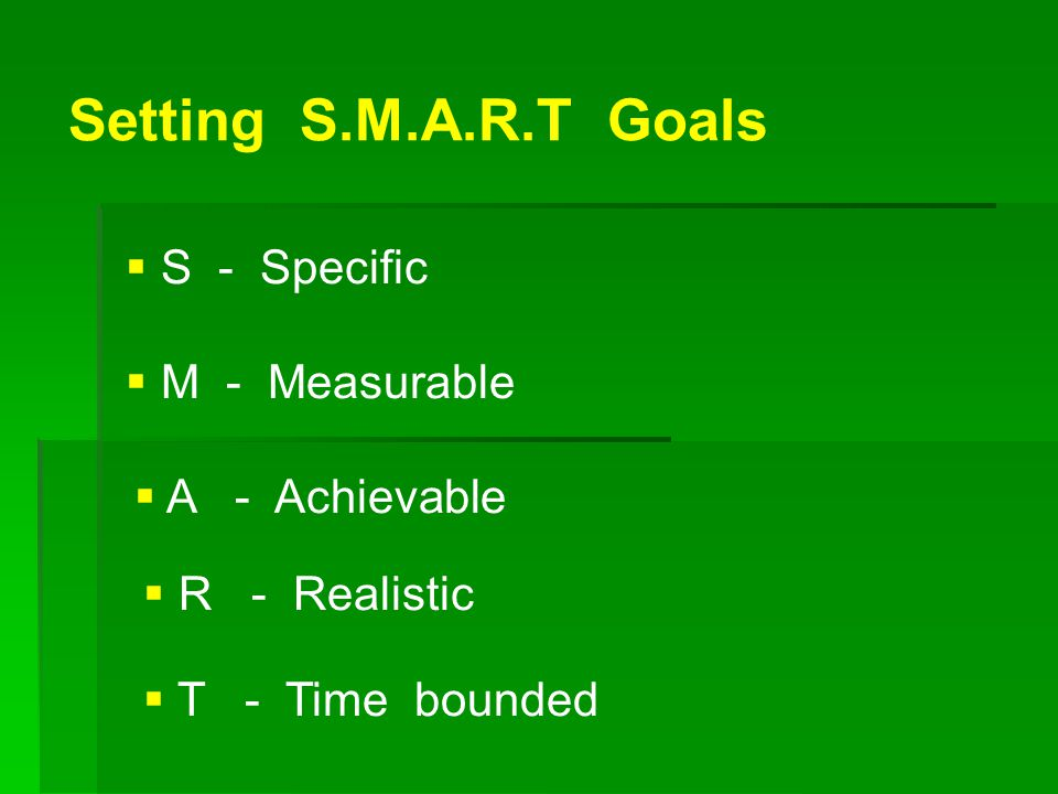 Setting S.M.A.R.T Goals S - Specific. M - Measurable. A - Achievable. R - Realistic.