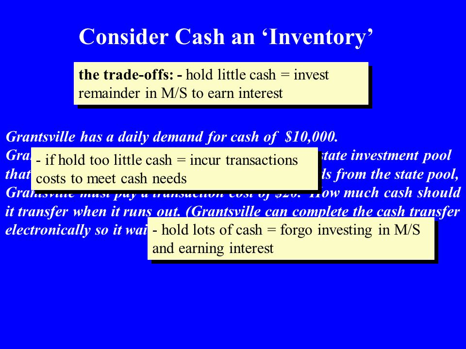 Consider Cash an 'Inventory'