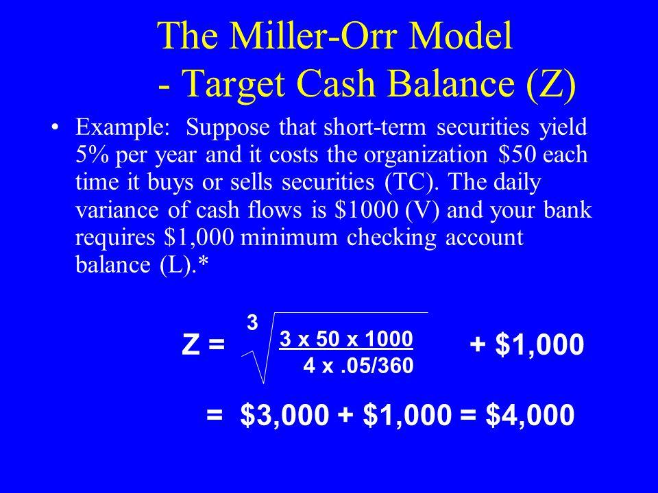 The Miller-Orr Model - Target Cash Balance (Z)