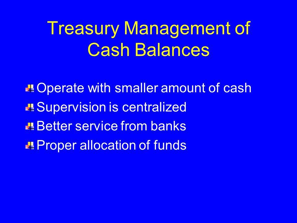 Treasury Management of Cash Balances