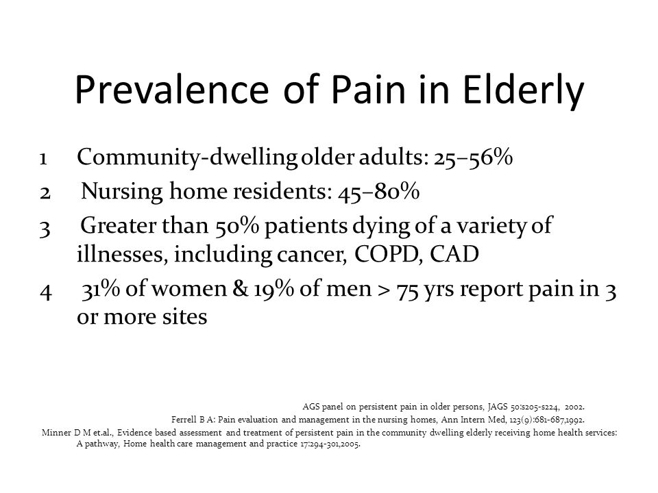 Prevalence of Pain in Elderly