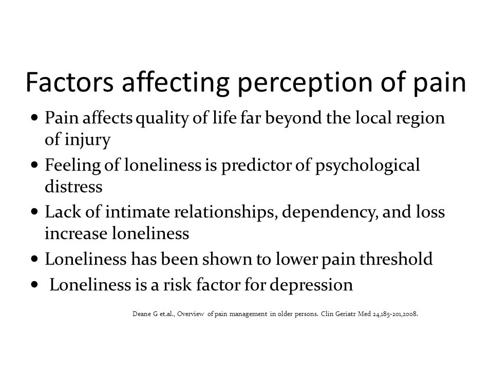 Factors affecting perception of pain