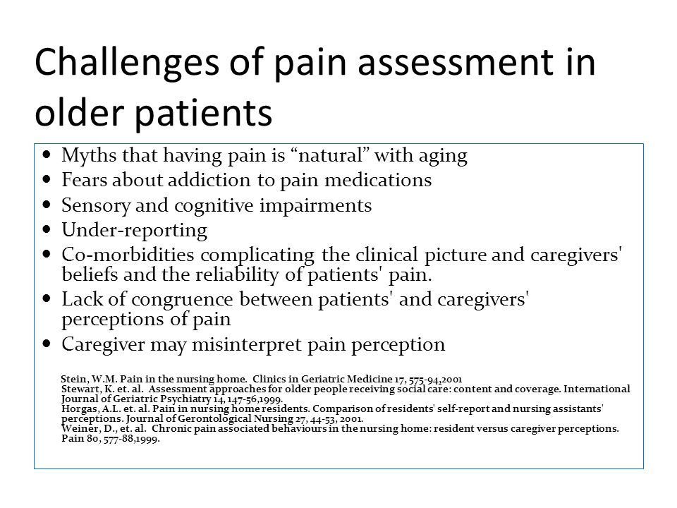 Challenges of pain assessment in older patients