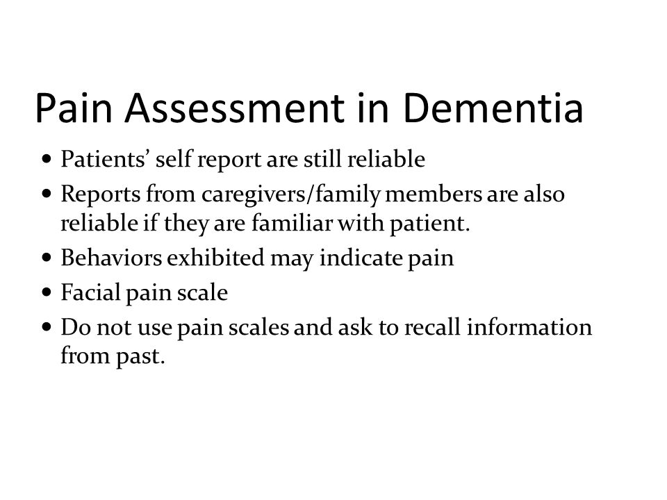 Pain Assessment in Dementia