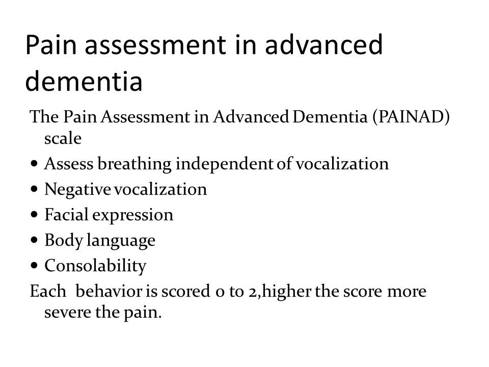 Pain assessment in advanced dementia
