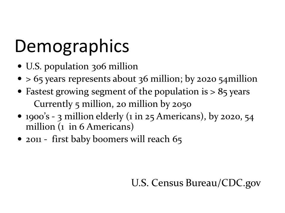 Demographics U.S. Census Bureau/CDC.gov U.S. population 306 million