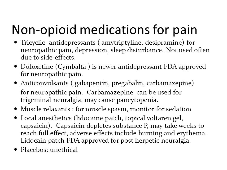 Non-opioid medications for pain