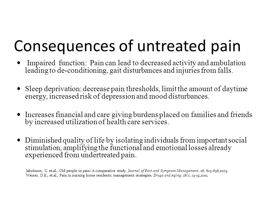Consequences of untreated pain