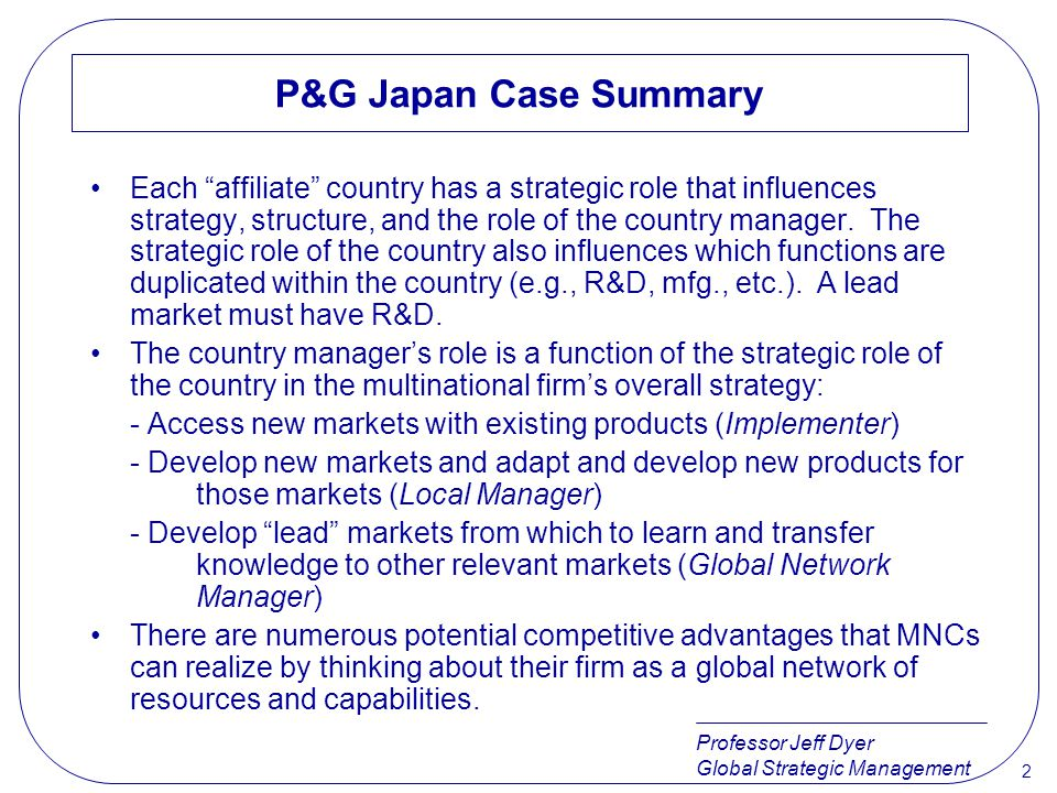 P&G Japan Case Summary