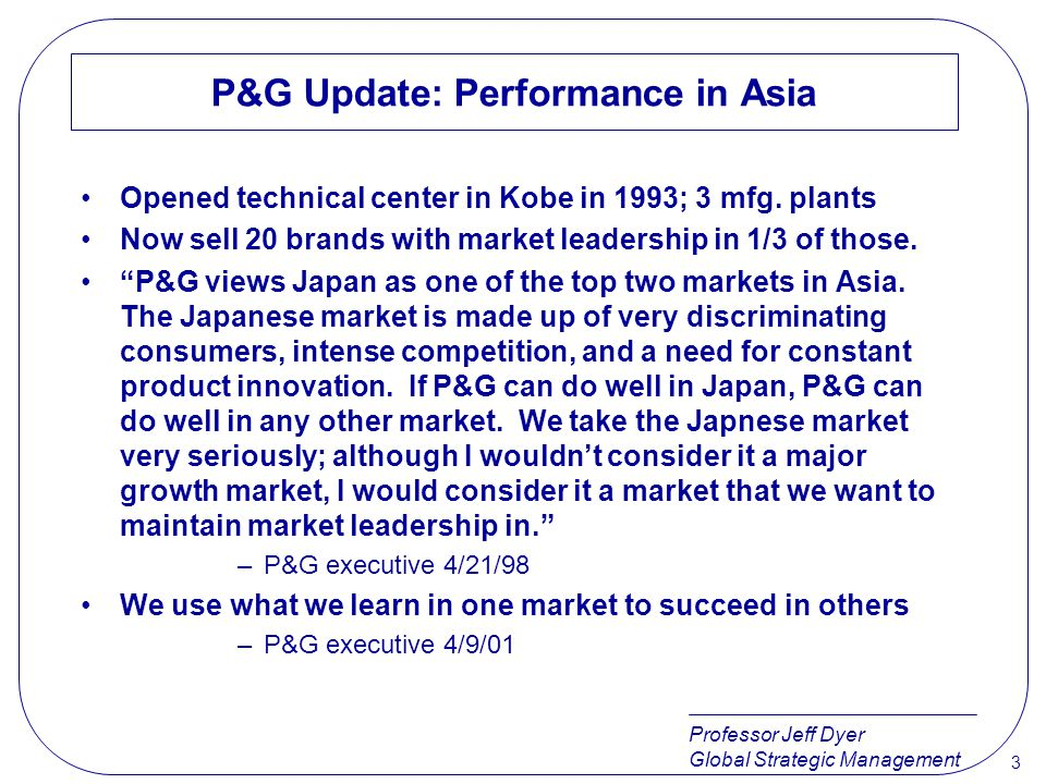 P&G Update: Performance in Asia