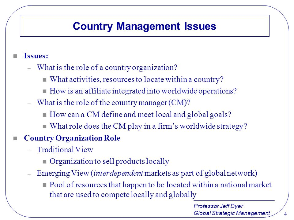 Country Management Issues