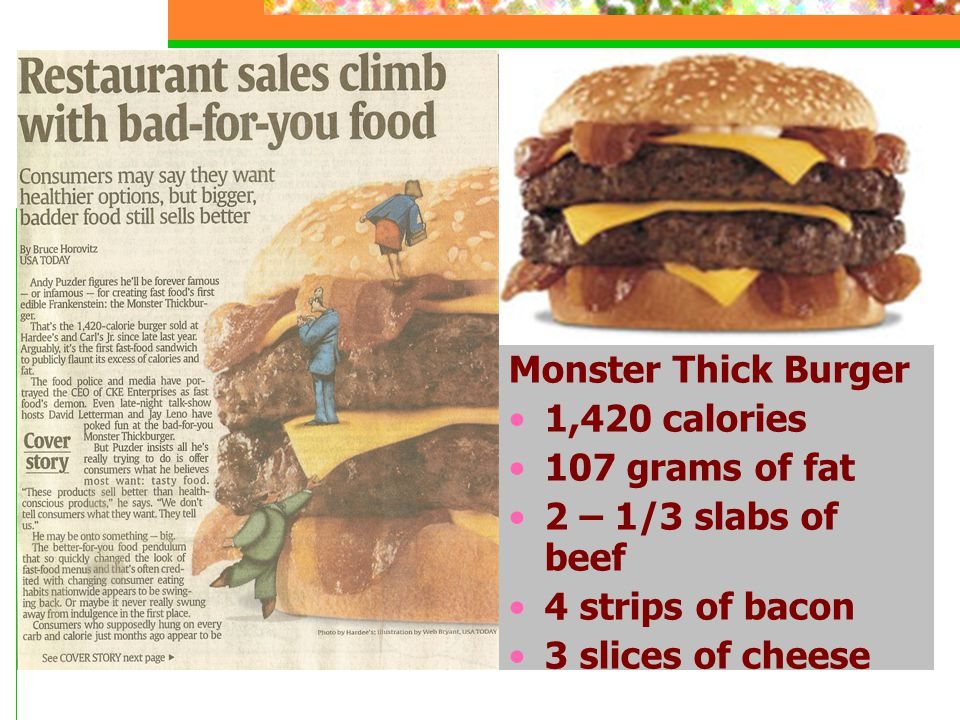 Monster Thick Burger 1,420 calories. 107 grams of fat. 2 – 1/3 slabs of beef. 4 strips of bacon.