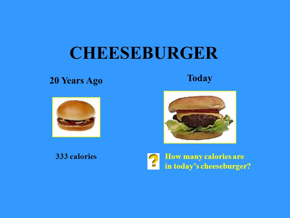 CHEESEBURGER Today 20 Years Ago 333 calories