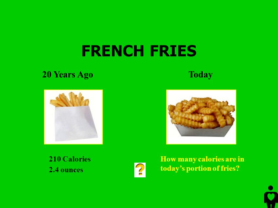FRENCH FRIES 20 Years Ago Today 210 Calories 2.4 ounces