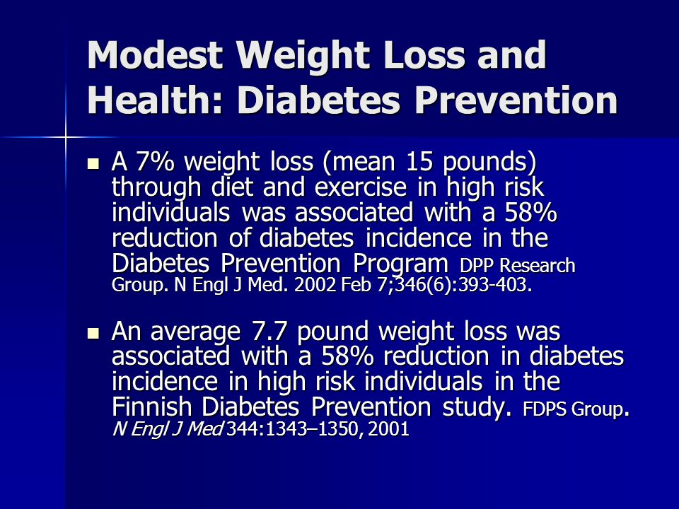 Modest Weight Loss and Health: Diabetes Prevention