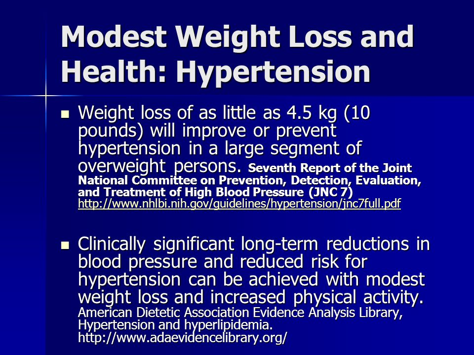 Modest Weight Loss and Health: Hypertension