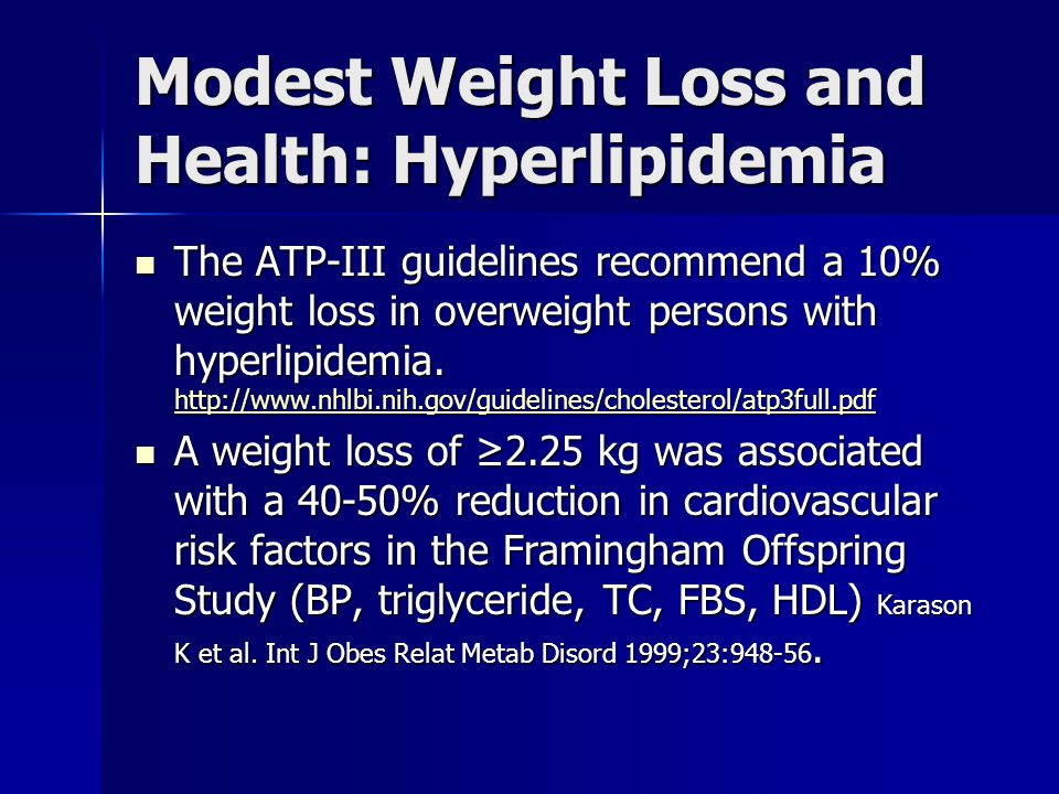 Modest Weight Loss and Health: Hyperlipidemia