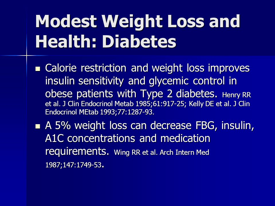 Modest Weight Loss and Health: Diabetes