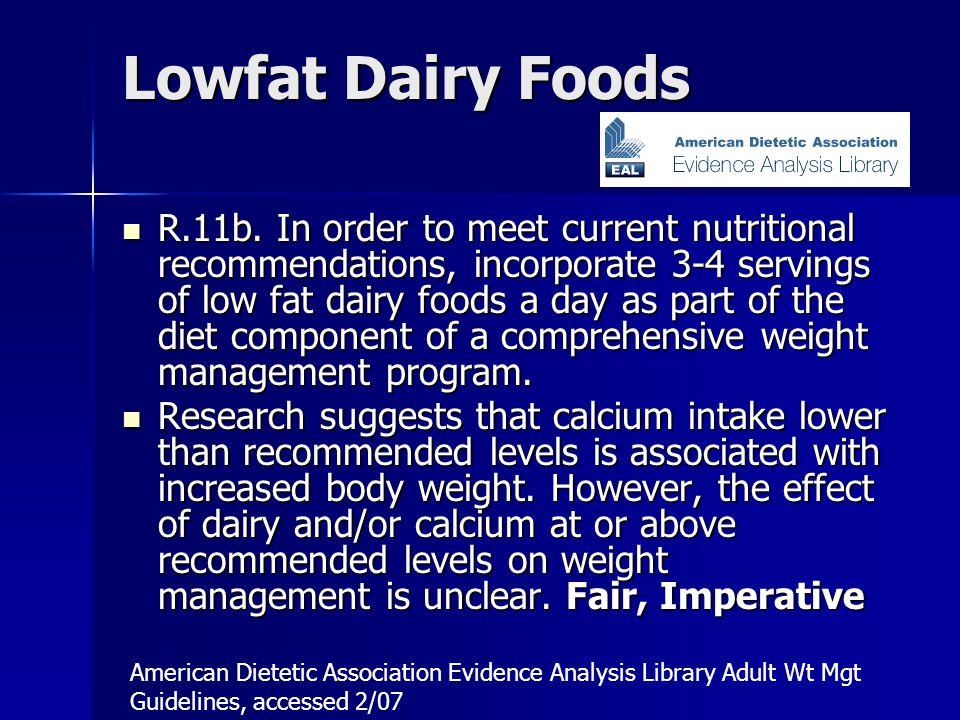 Lowfat Dairy Foods