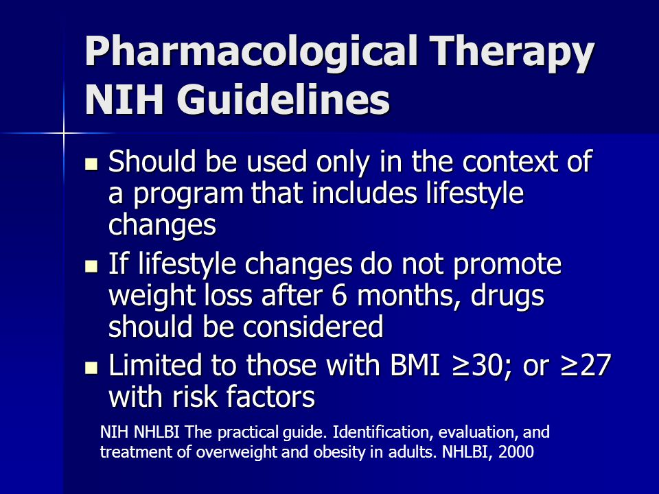 Pharmacological Therapy NIH Guidelines
