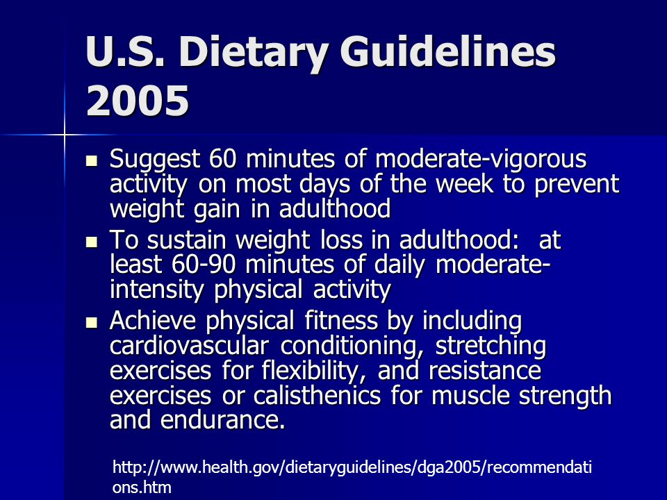 U.S. Dietary Guidelines 2005 Suggest 60 minutes of moderate-vigorous activity on most days of the week to prevent weight gain in adulthood.