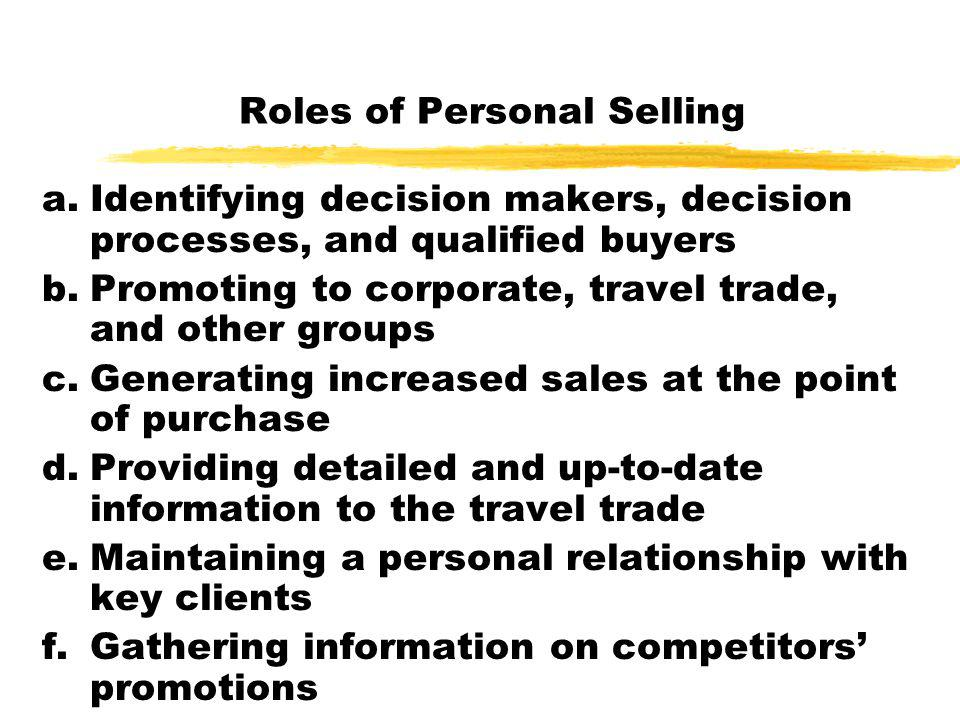 Roles of Personal Selling