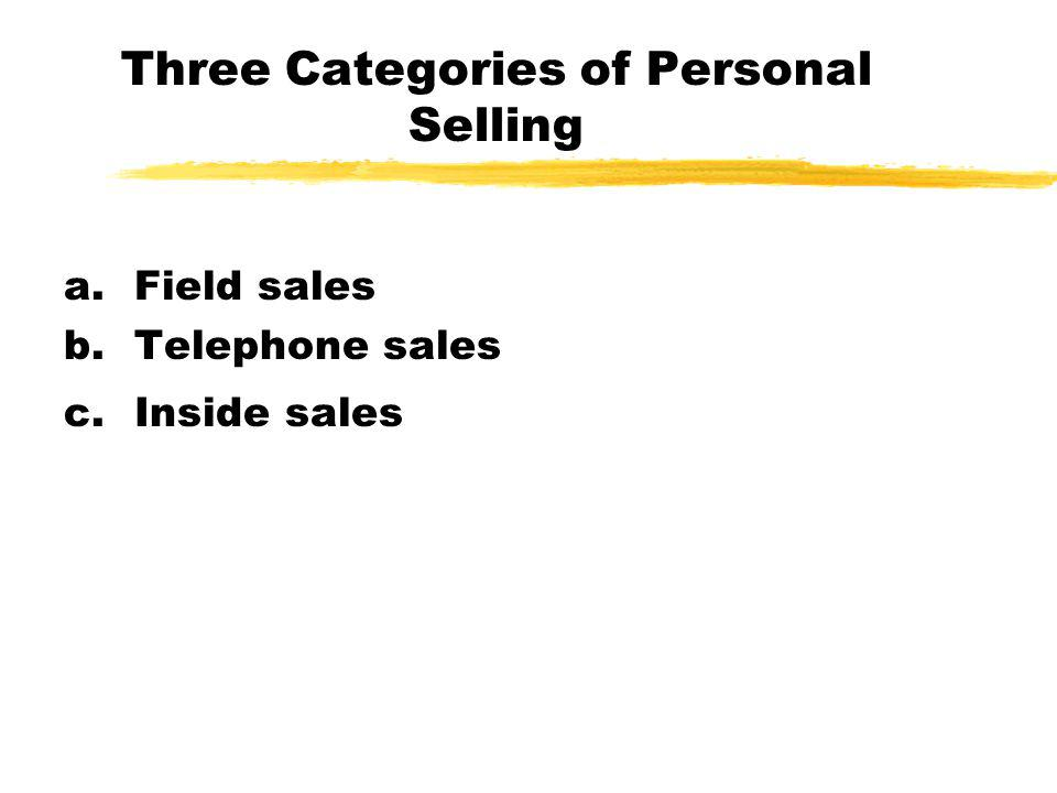 Three Categories of Personal Selling