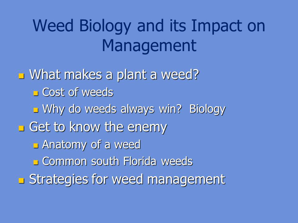 Weed Biology and its Impact on Management
