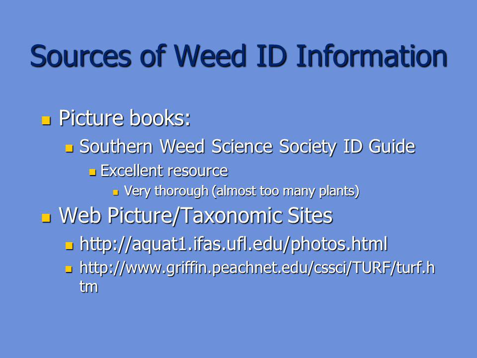Sources of Weed ID Information