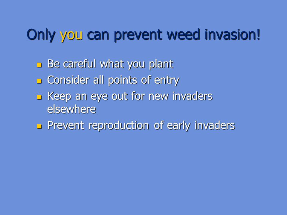Only you can prevent weed invasion!
