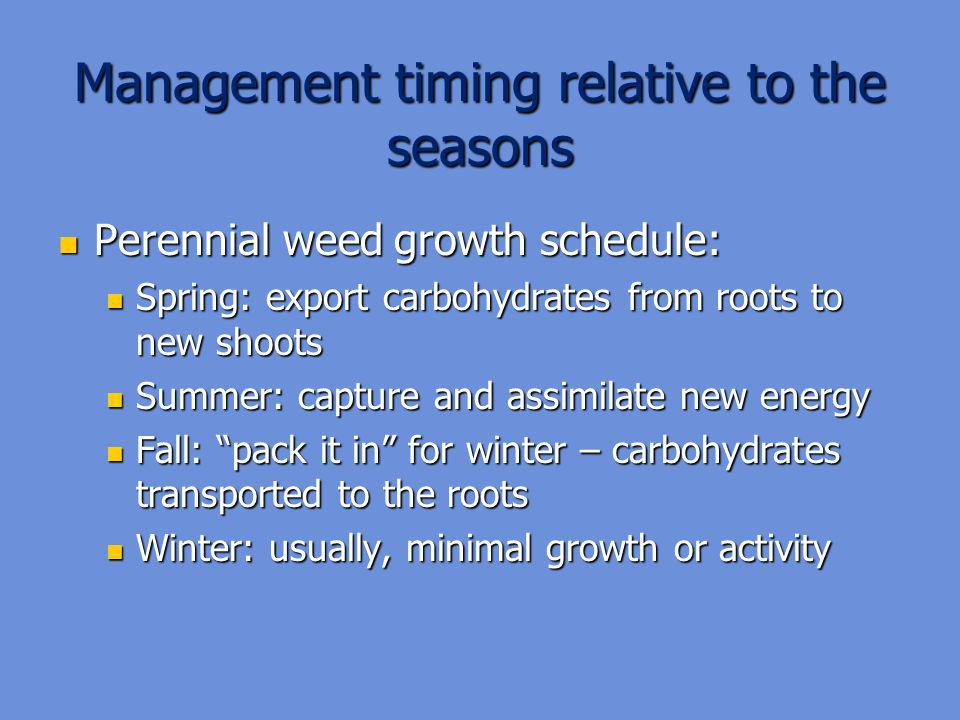 Management timing relative to the seasons