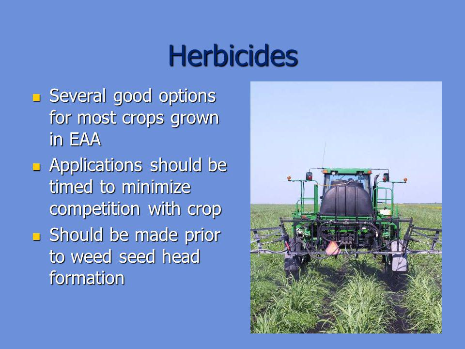 Herbicides Several good options for most crops grown in EAA