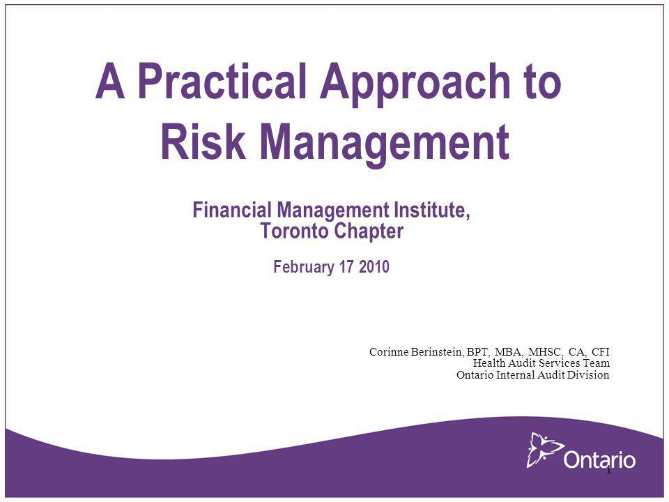 A Practical Approach to Risk Management