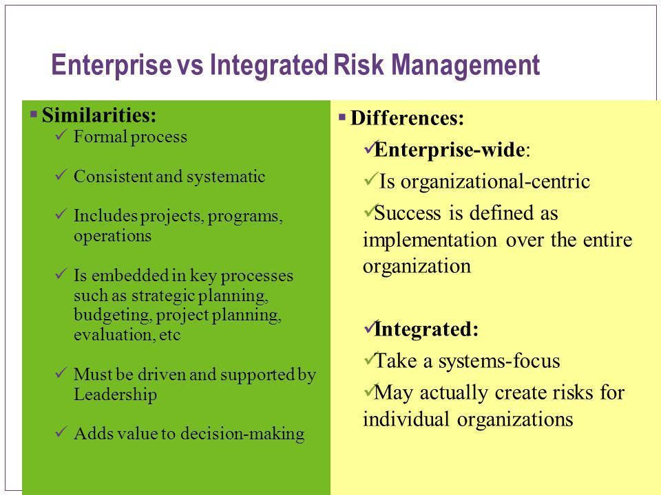 Enterprise vs Integrated Risk Management