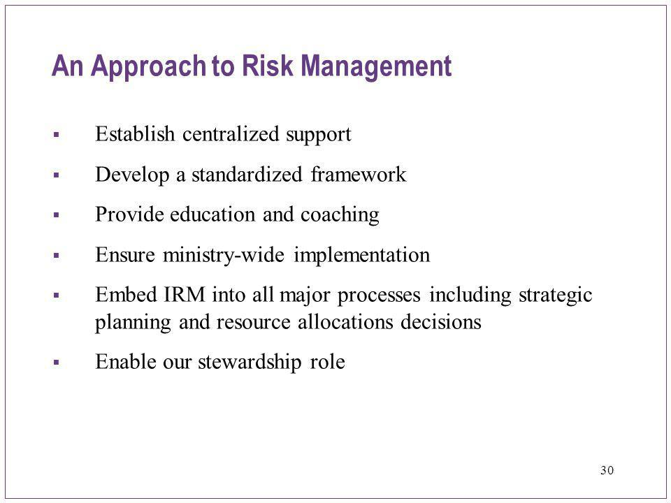 An Approach to Risk Management