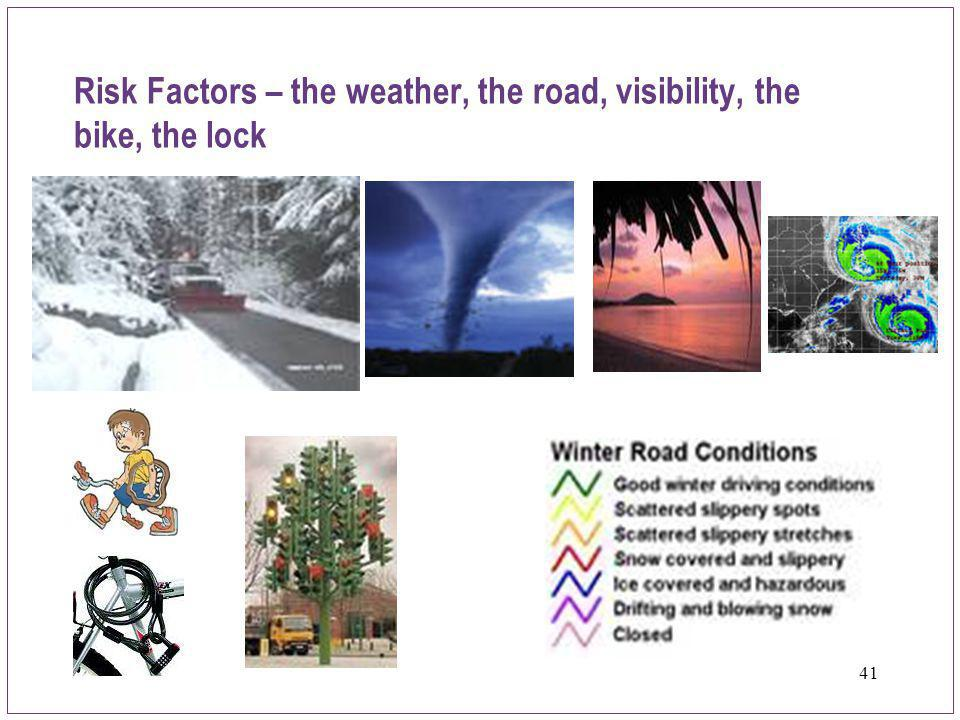 Risk Factors – the weather, the road, visibility, the bike, the lock