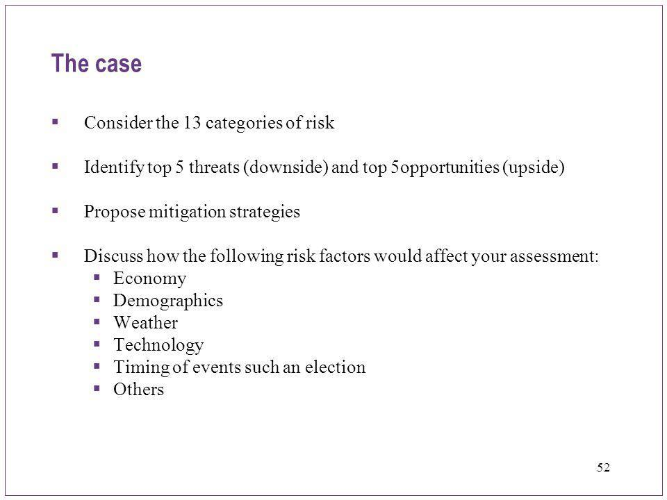 The case Consider the 13 categories of risk