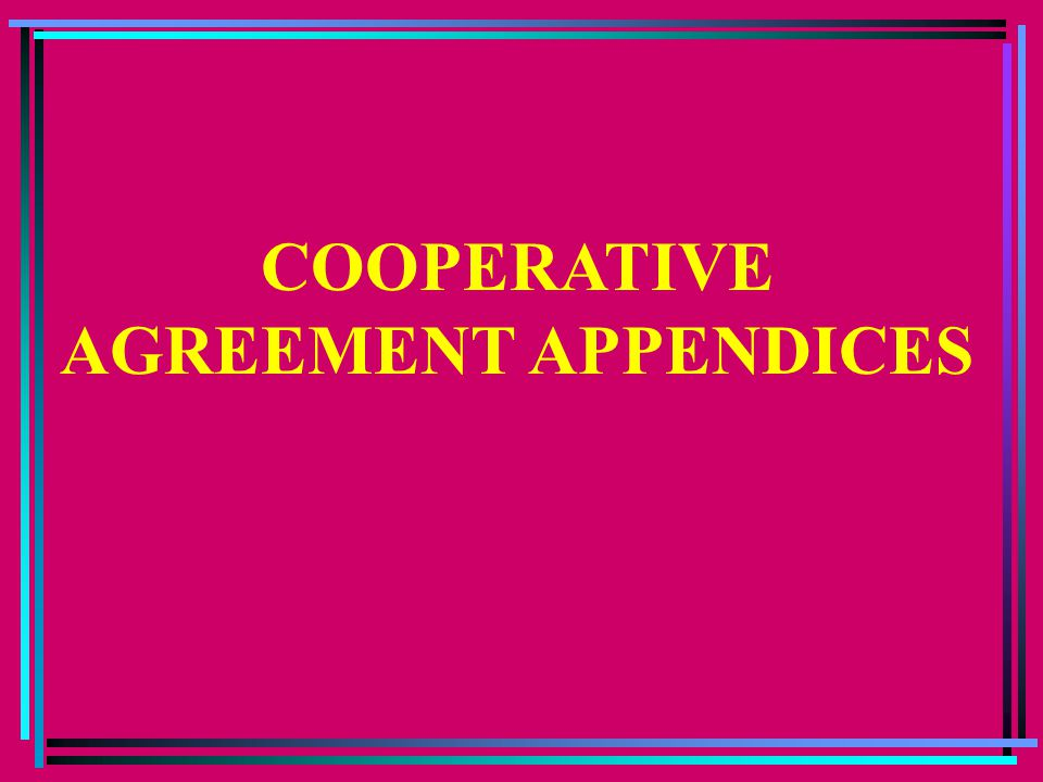 COOPERATIVE AGREEMENT APPENDICES