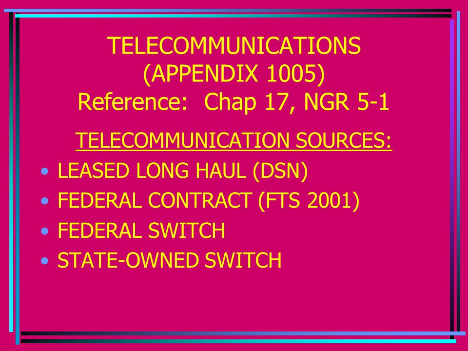 TELECOMMUNICATIONS (APPENDIX 1005) Reference: Chap 17, NGR 5-1