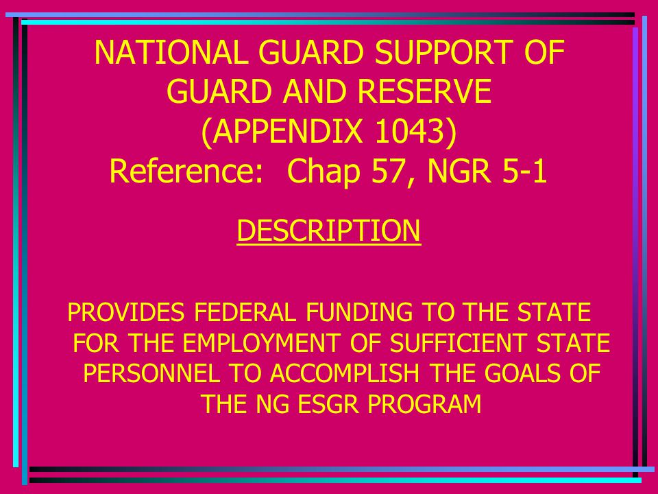 NATIONAL GUARD SUPPORT OF GUARD AND RESERVE (APPENDIX 1043) Reference: Chap 57, NGR 5-1