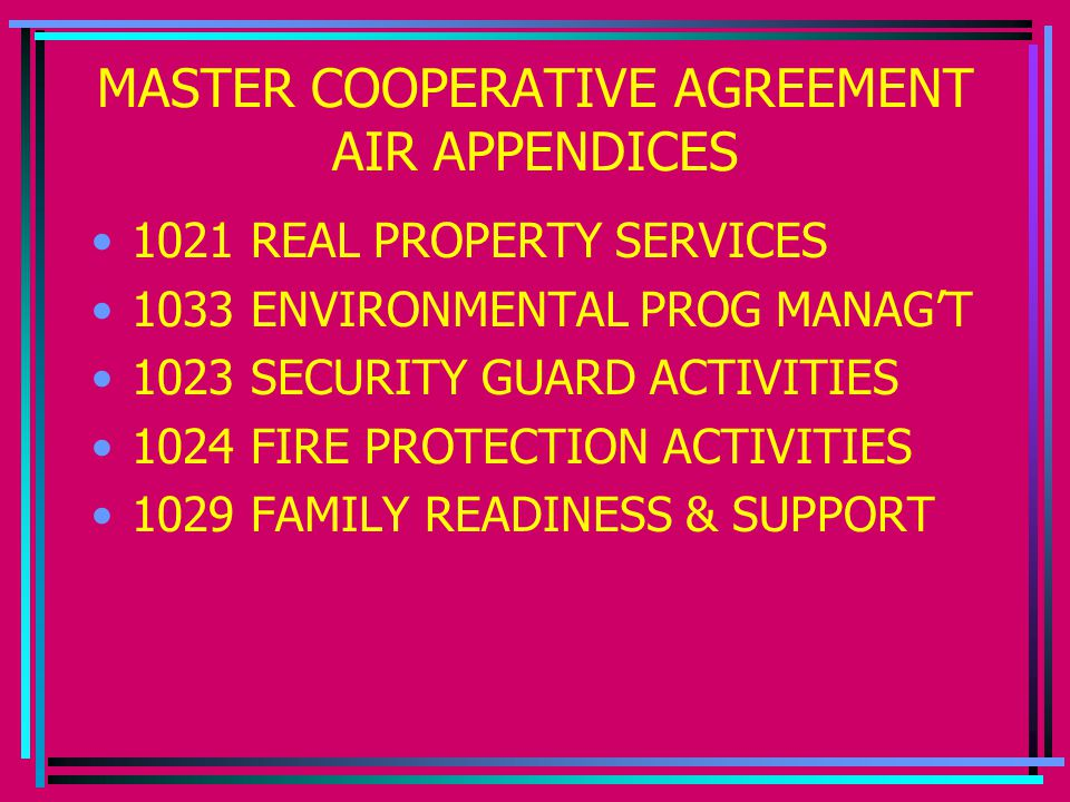 MASTER COOPERATIVE AGREEMENT AIR APPENDICES