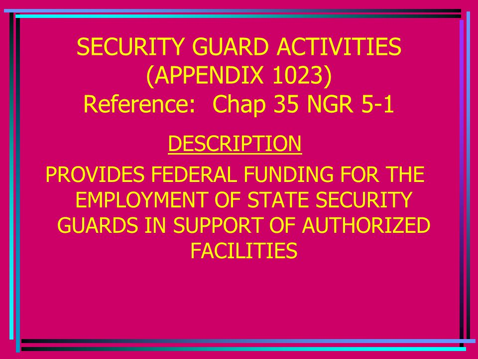 SECURITY GUARD ACTIVITIES (APPENDIX 1023) Reference: Chap 35 NGR 5-1